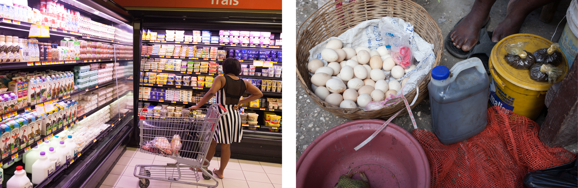 Giant Grocery store in Petionville, Haiti, and an egg seller.
