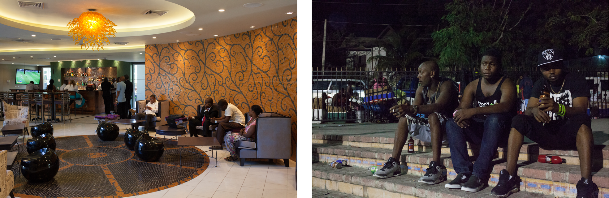 The Kinam lounge, where President Martelly often holds meetings. The young men are in Place Boyer, a new park was constructed after the quake.