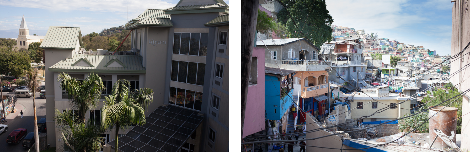 Kinam Hotel and a view of the slums. Only this visible corner of the Jalousie neighborhood were painted in a $1.4 million project.