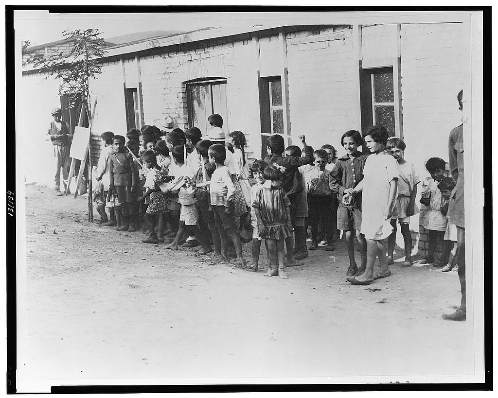 1923, Greek and Armenian refugee children in barracks near Athens--Greece received 1,000,000 refugees or one to each family of the country. (Library of Congress)