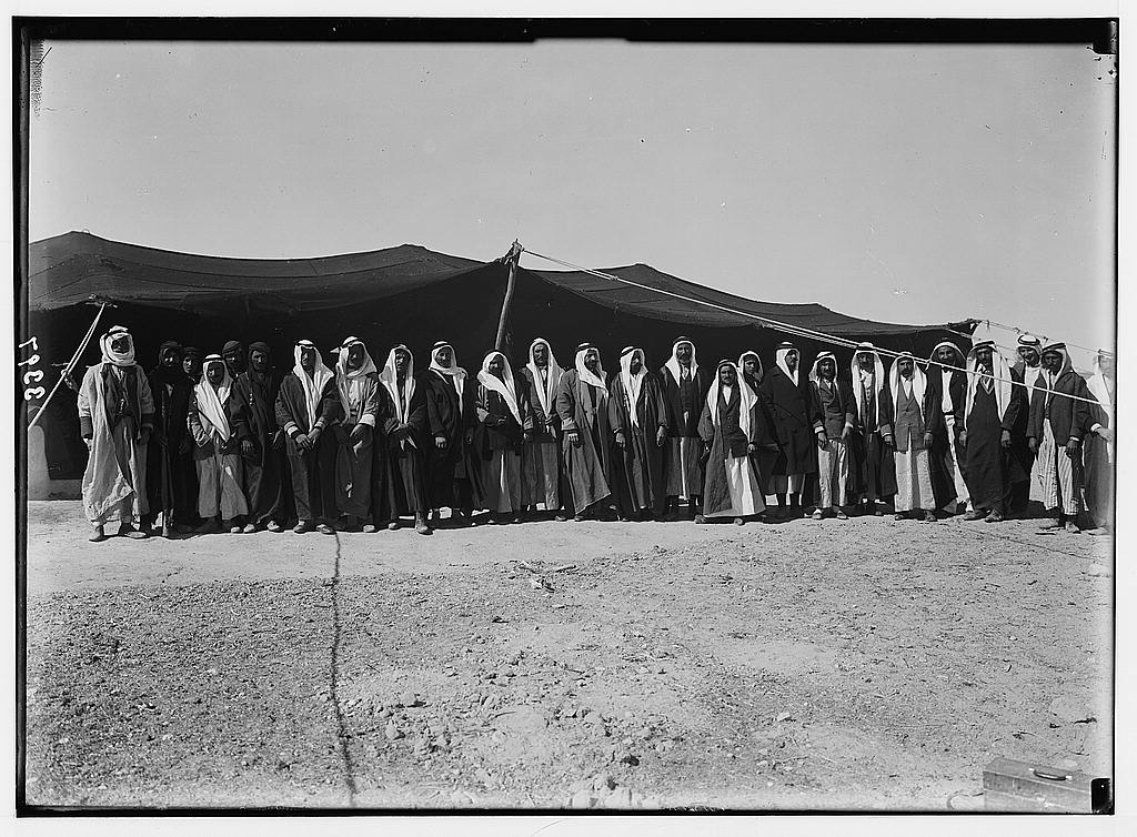 ca. 1926. Druse [i.e., Druze] political refugees from Jebel Druse (The Hauran). Druse refugees, Wady Sirhan. Chiefs who revolted against French rule in Syria. (Library of Congress)