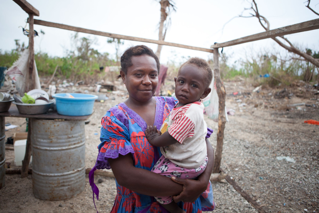 Marie Hendry, with her son, Kalos, 1. They lost their house in Cylcone Pam.