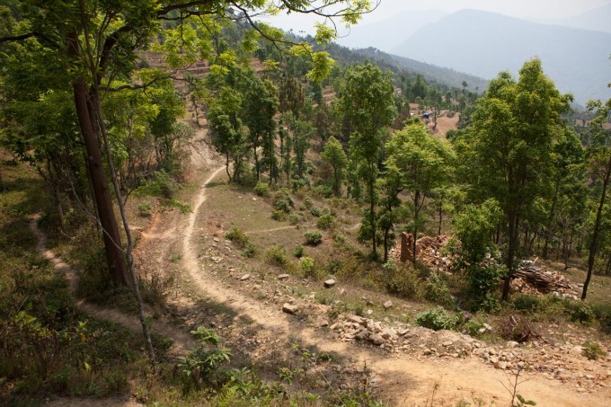 The path to where the Tamang family lives, near Jalkeni village, in the Sindhupalchowk district.